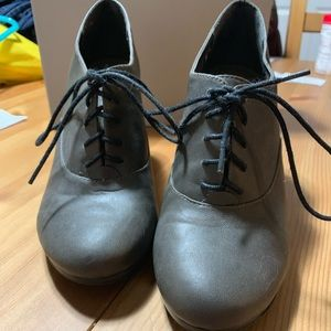 Fergalicious Gray High Heeled Lace Up Oxford Boots